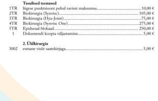 1. Eesti Haigekassa hinnakiri